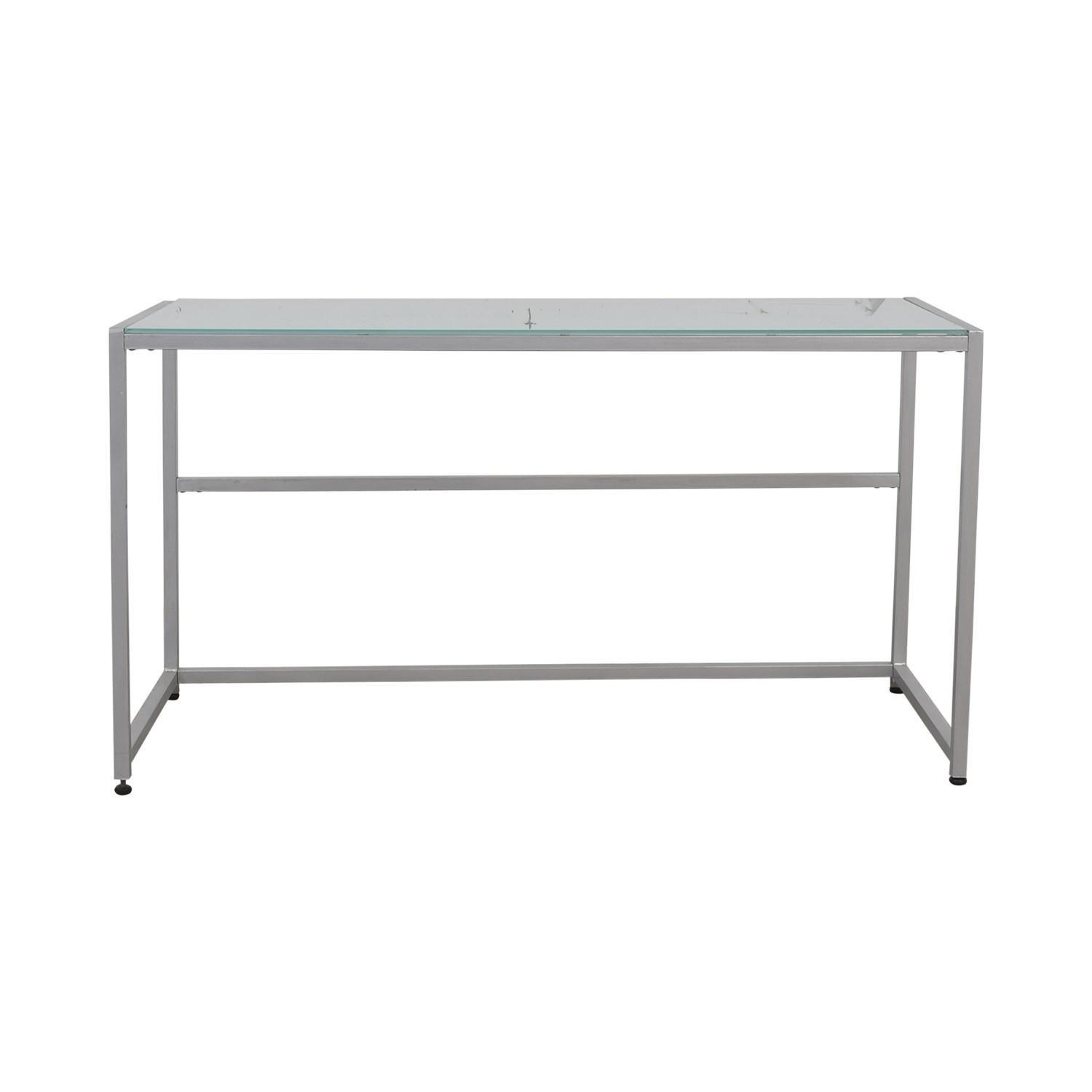 CB2 Trig Frosted Glass Desk/Console Table - image-0