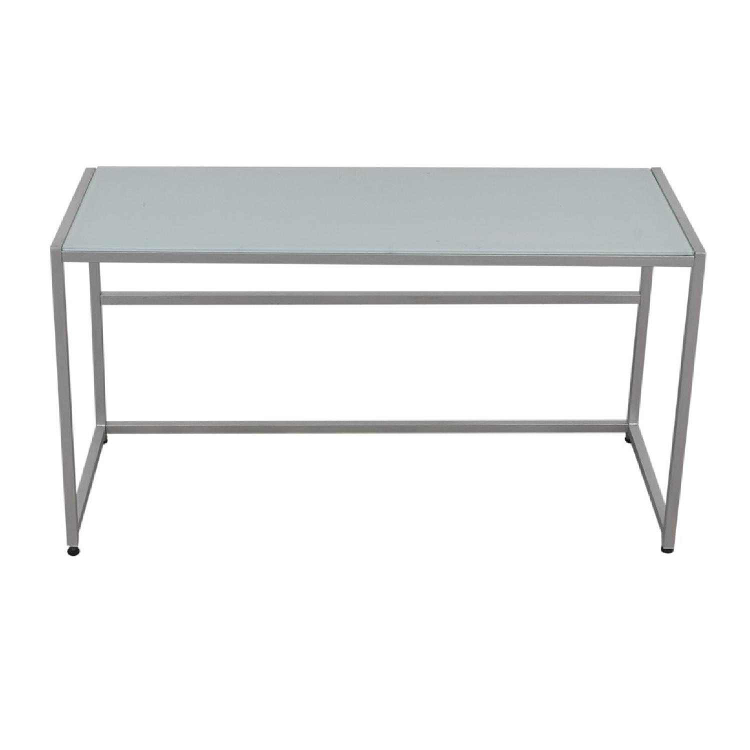 CB2 Trig Frosted Glass Desk/Console Table - image-2