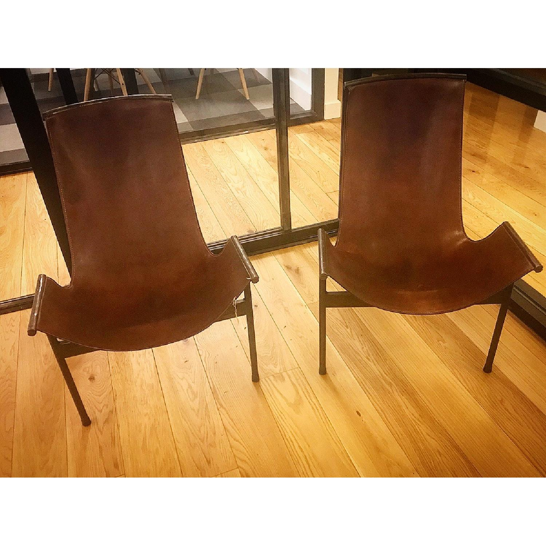 Jayson Home Zaha Leather Sling Chair - image-1