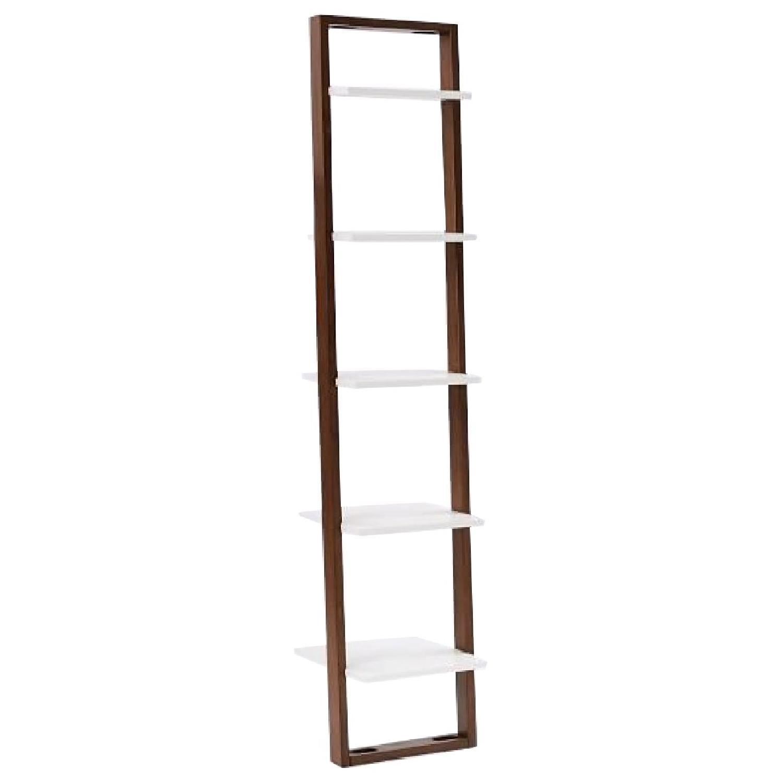 West Elm Ladder Narrow Bookshelf in White/Espresso