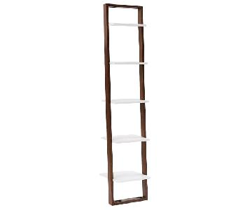 West Elm Ladder Narrow Bookshelf in White/Espresso
