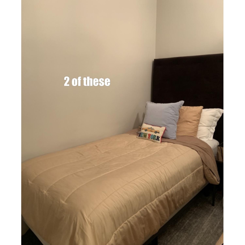 West Elm Brown Suede Headboard w/ Twin Metal Bed Frame - image-1