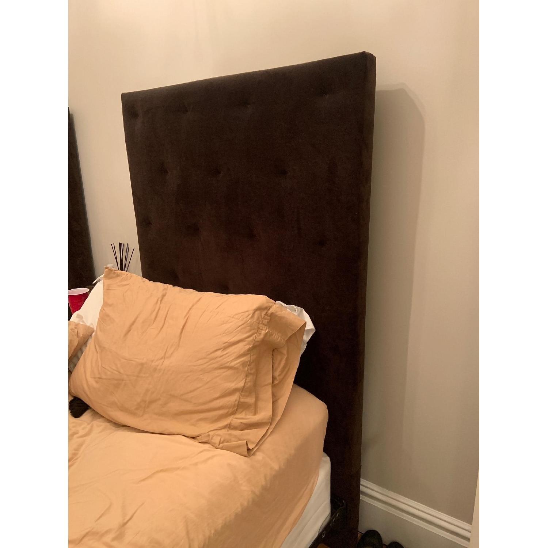 West Elm Brown Suede Headboard w/ Twin Metal Bed Frame - image-2