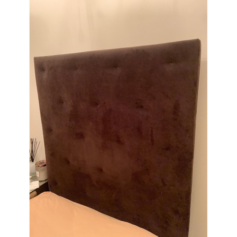 West Elm Brown Suede Headboard w/ Twin Metal Bed Frame - image-3