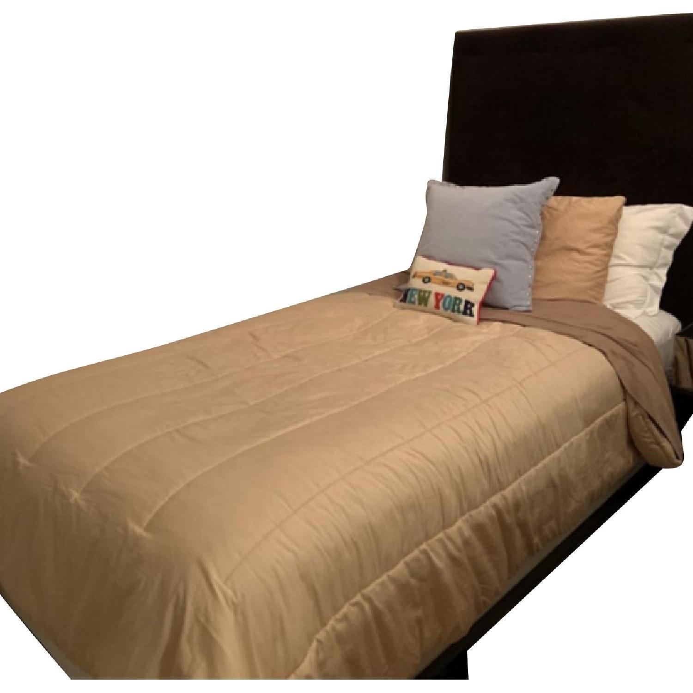 West Elm Brown Suede Headboard w/ Twin Metal Bed Frame - image-0