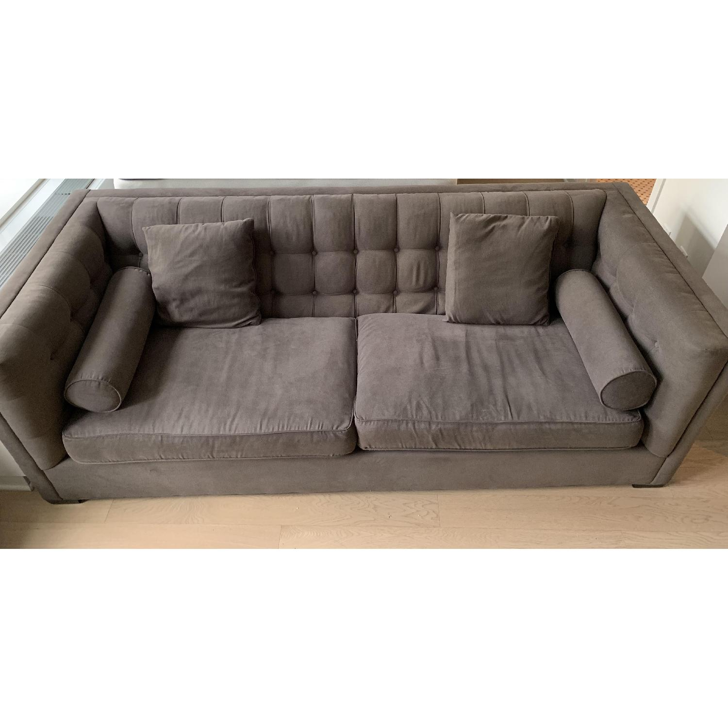 Horchow Tufted Charcoal Grey Fabric Sofa - image-1