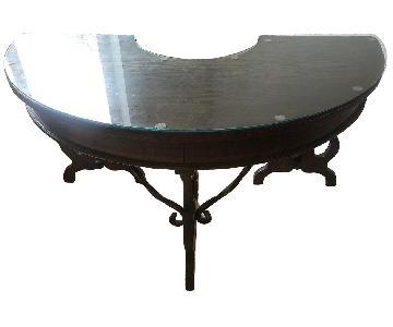 Antique 3 Drawer Semi-Circle Wood Desk w/ Metal Detail