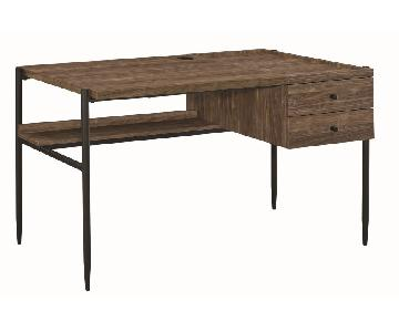 Industrial Style Writing Desk in Aged Walnut Finish