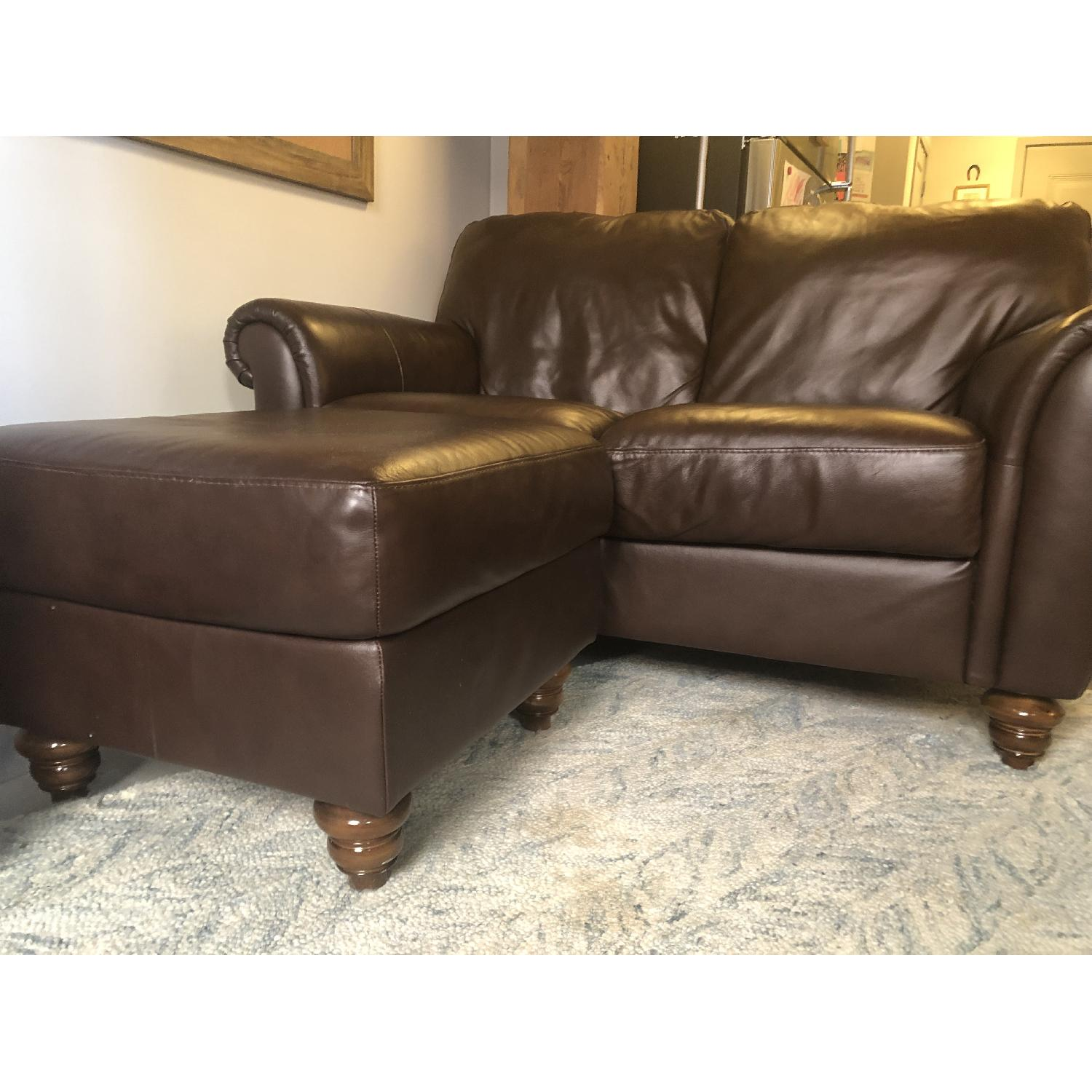 Macy's Italsofa Brown Leather Rolled Arm Loveseat & Ottoman - image-1