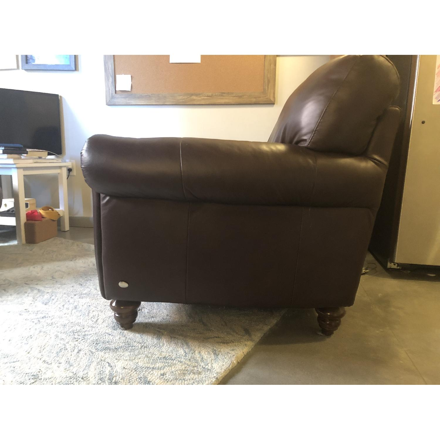 Macy's Italsofa Brown Leather Rolled Arm Loveseat & Ottoman - image-2