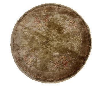 Vintage Handmade Silk Art Deco Style Chinese Round Rug