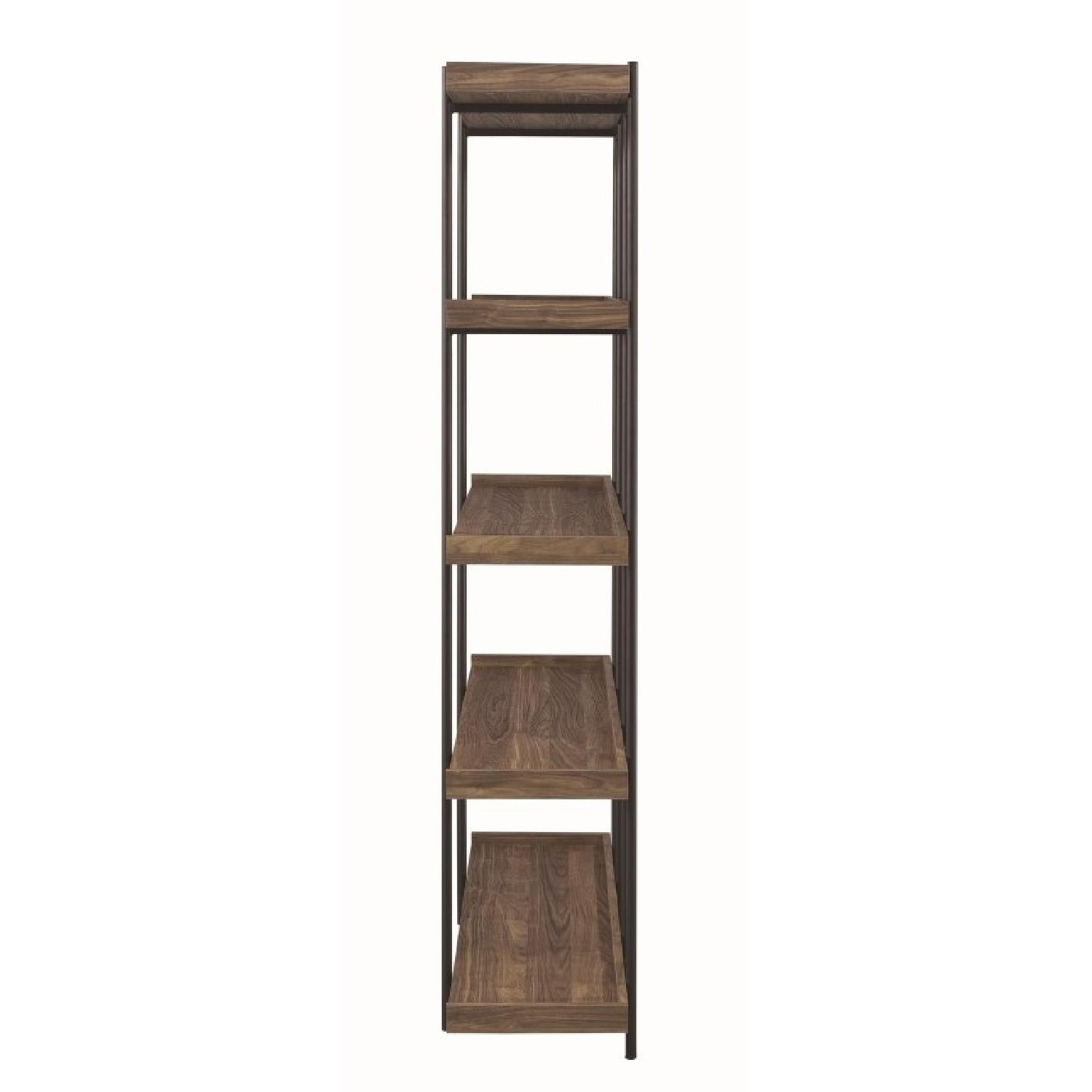 Industrial Style 5-Shelves Bookcase in Aged Walnut Finish - image-1