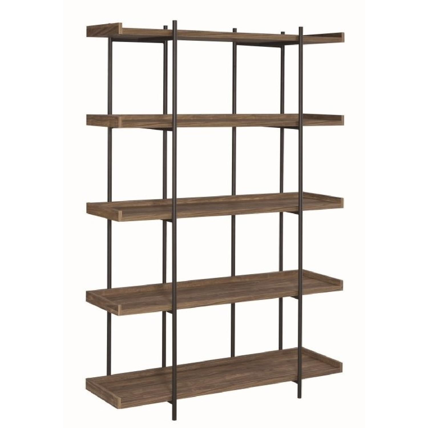 Industrial Style 5-Shelves Bookcase in Aged Walnut Finish - image-0