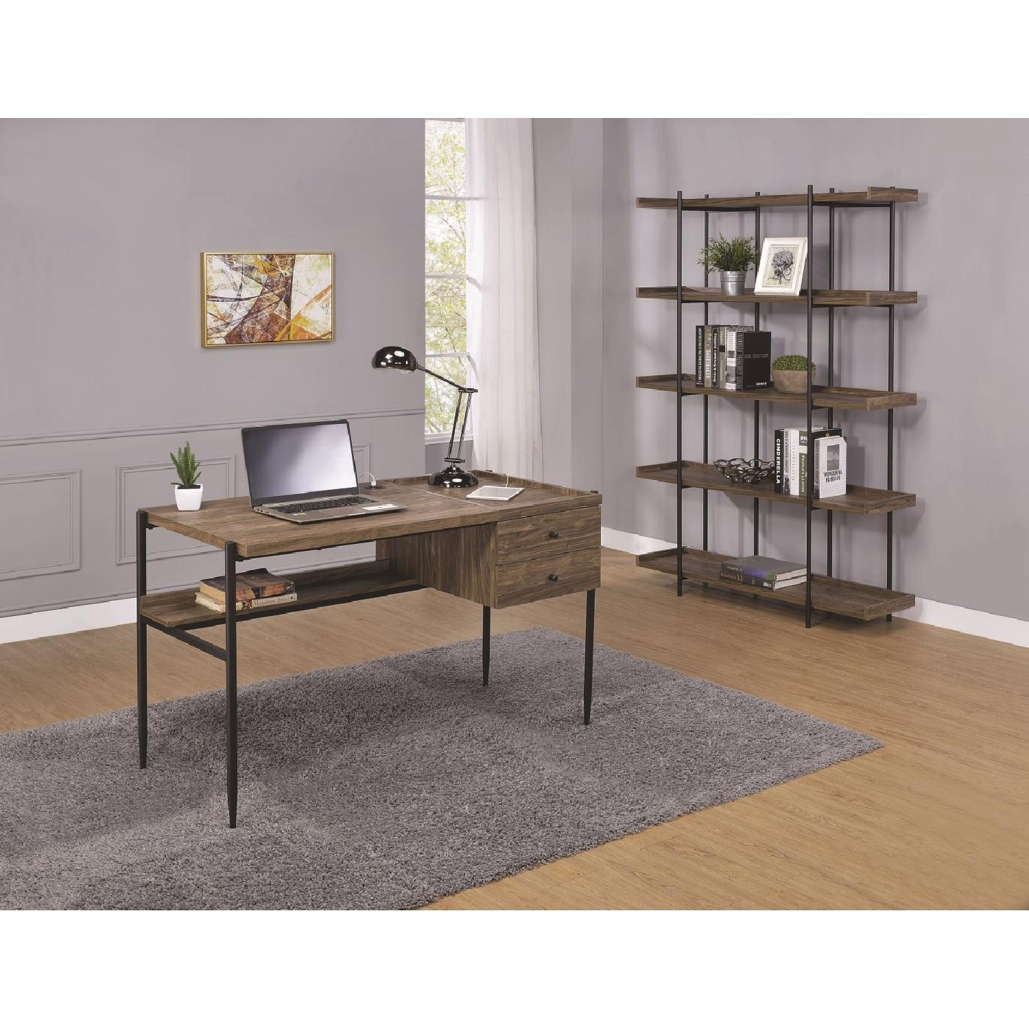 Industrial Style 5-Shelves Bookcase in Aged Walnut Finish - image-4
