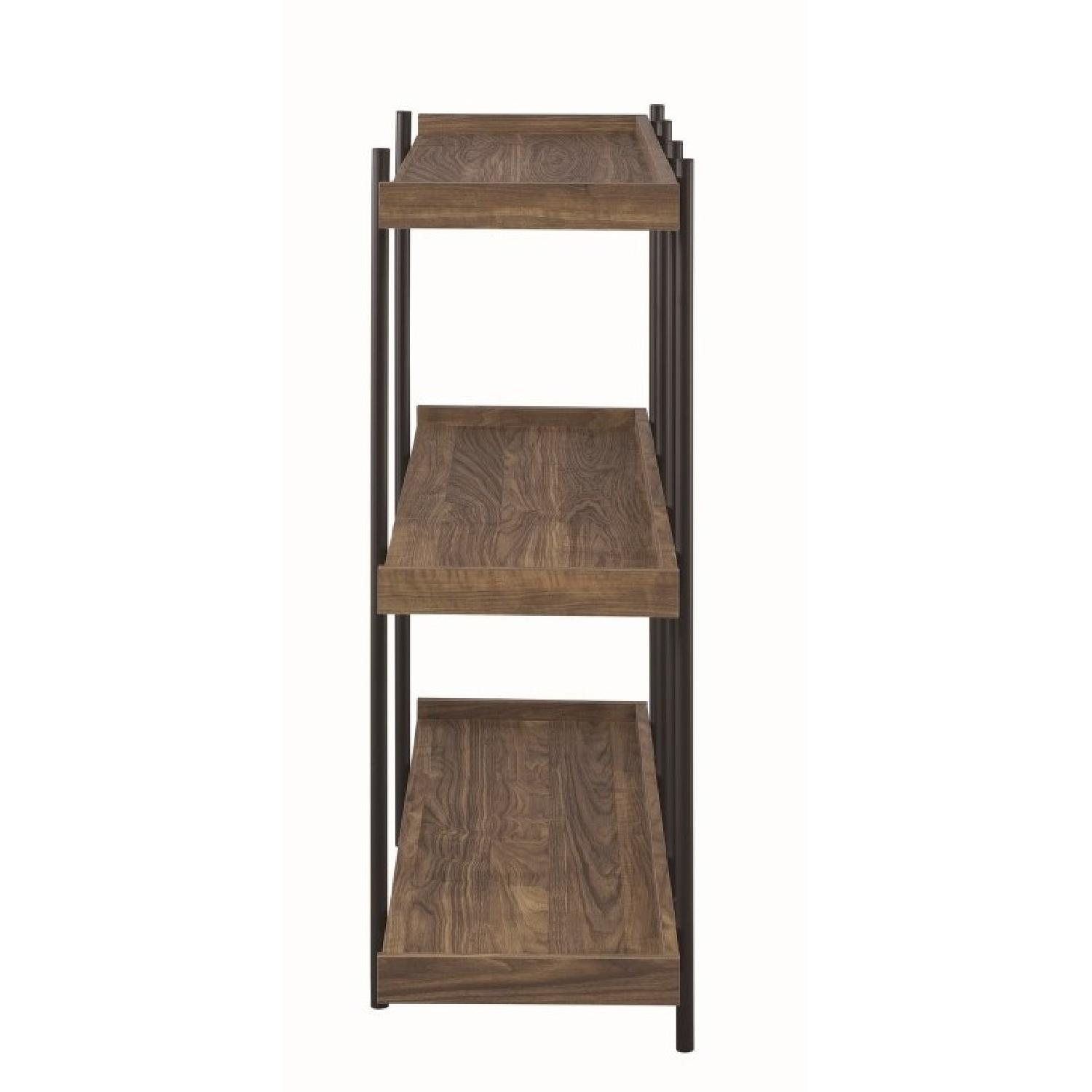 Industrial Style 5-Shelves Bookcase in Aged Walnut Finish - image-5
