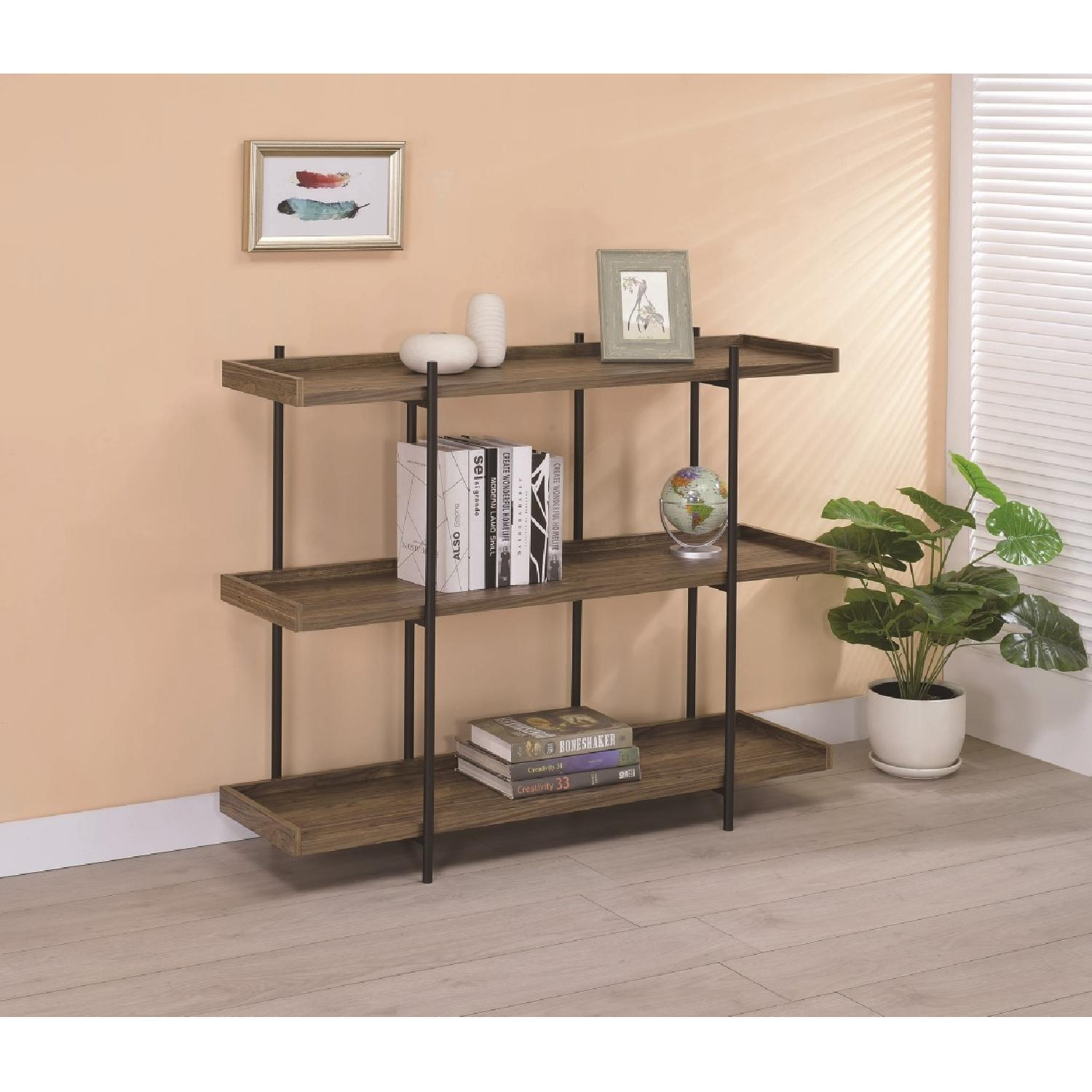 Industrial Style 5-Shelves Bookcase in Aged Walnut Finish - image-9