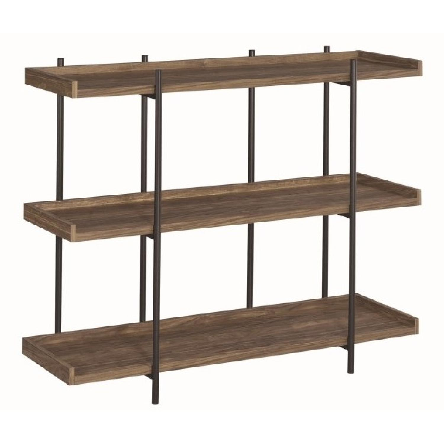 Industrial Style 3-Shelves Bookcase in Aged Walnut Finish - image-0