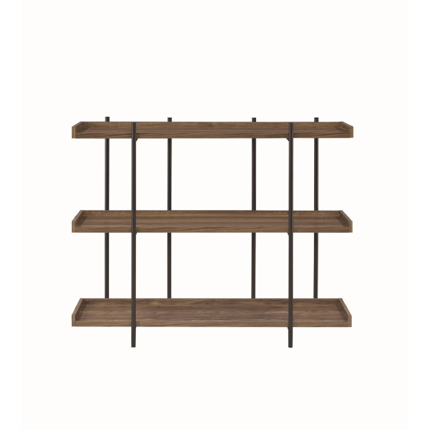 Industrial Style 3-Shelves Bookcase in Aged Walnut Finish - image-4