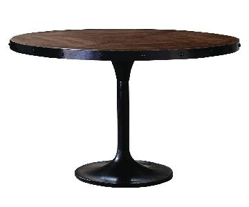 Rustic Round Dining Table w/ Metal Banding