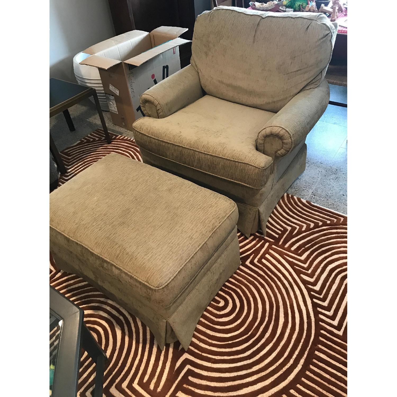 Slipcovered Chair & Ottoman - image-1