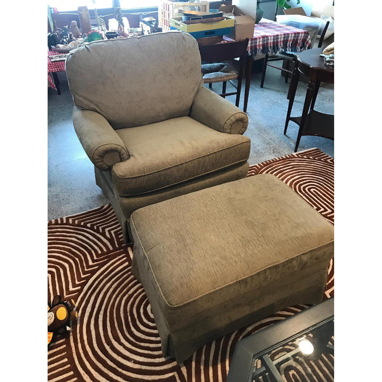 Slipcovered Chair & Ottoman - image-3