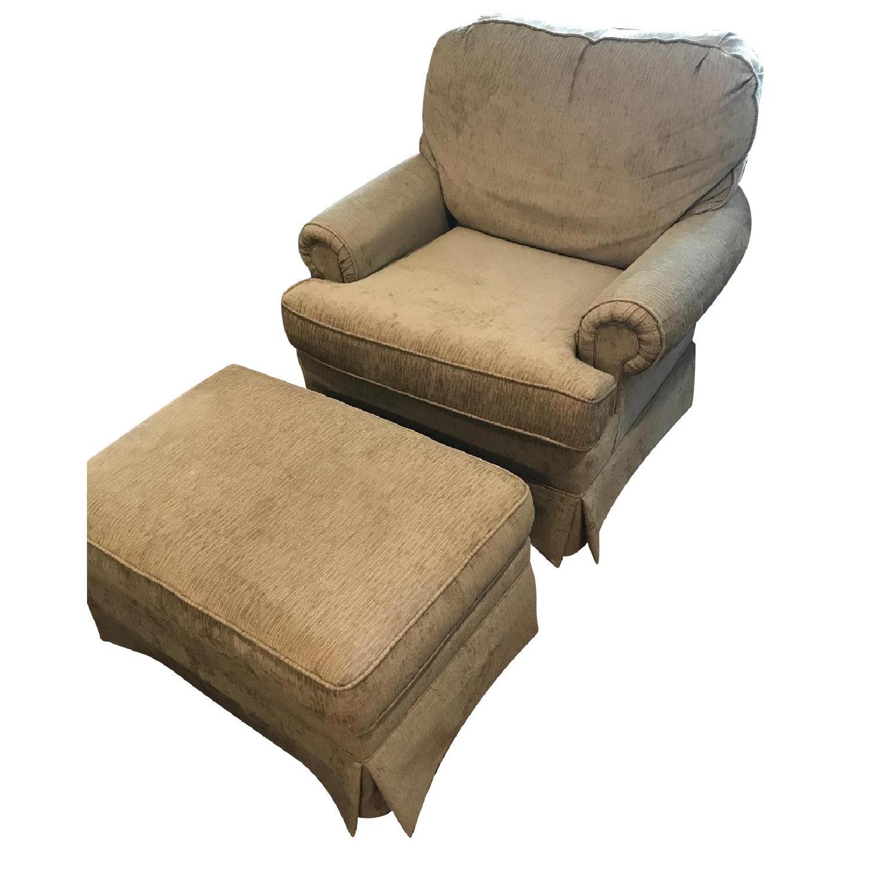 Slipcovered Chair & Ottoman - image-0