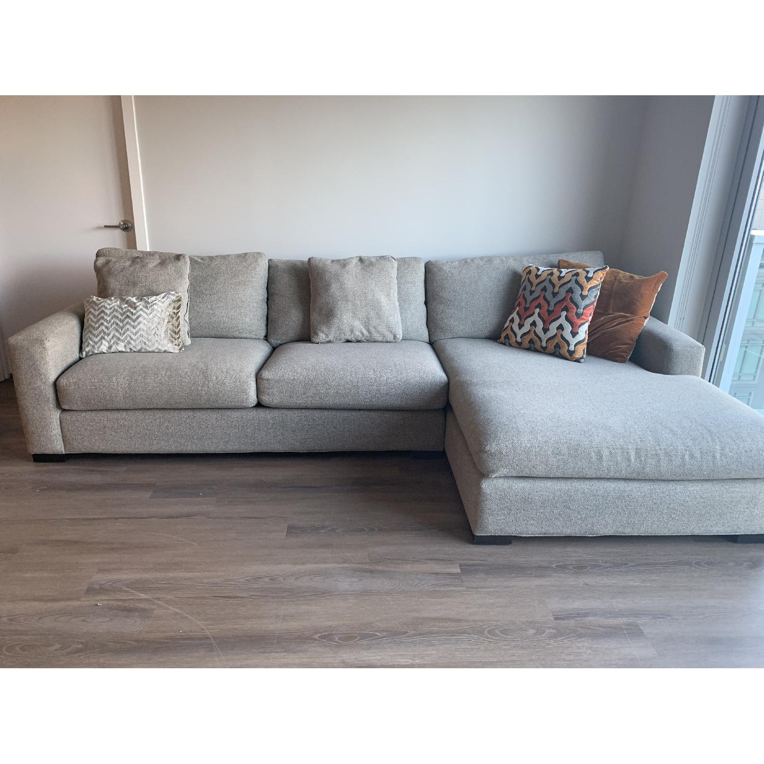 Room & Board Metro Grey Sectional Sofa w/ Right Chaise - image-1