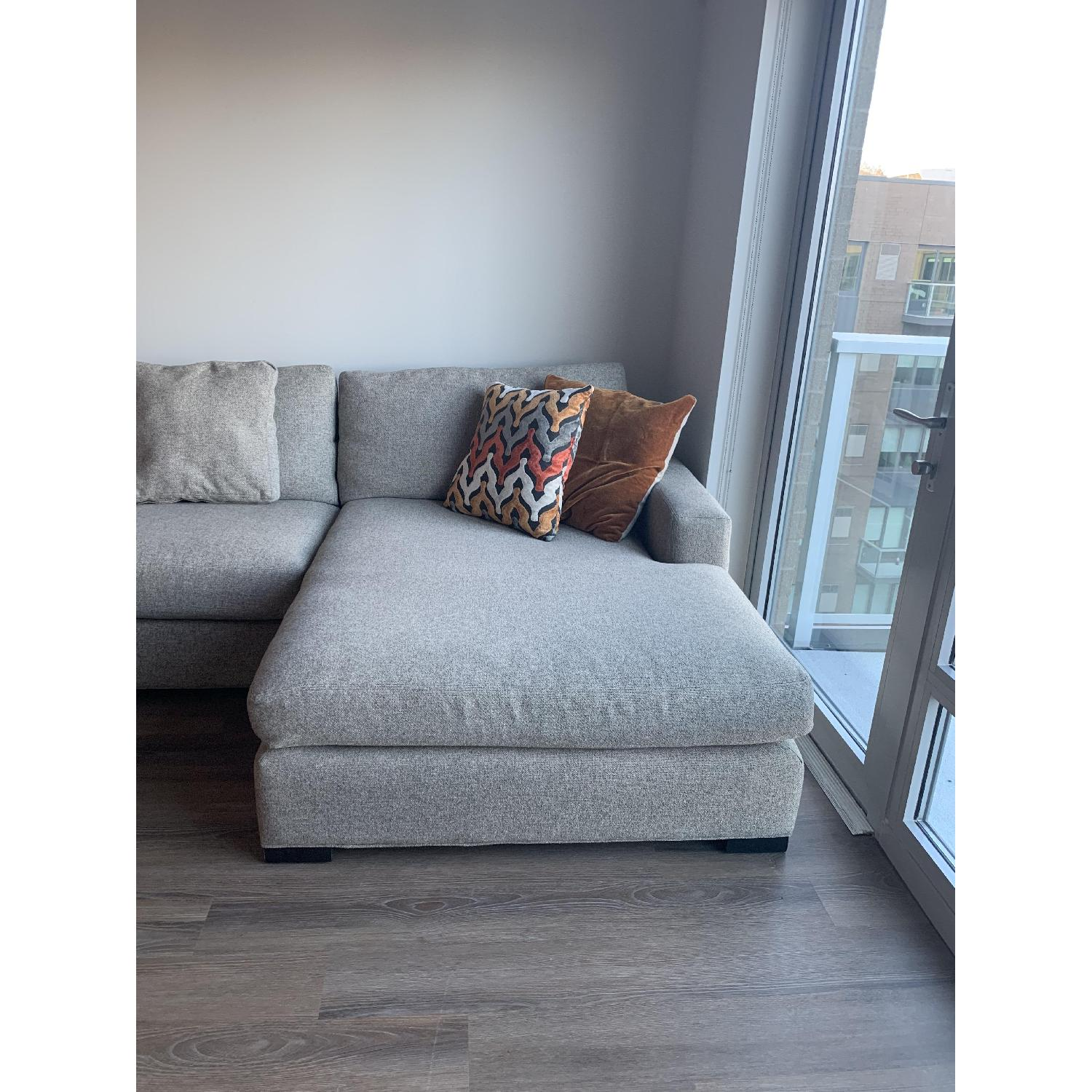 Room & Board Metro Grey Sectional Sofa w/ Right Chaise - image-3