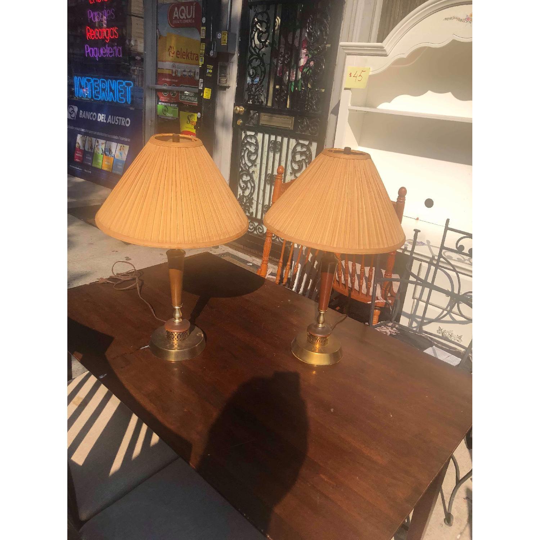 Vintage Mid Century Wood & Brass Lamps - image-1