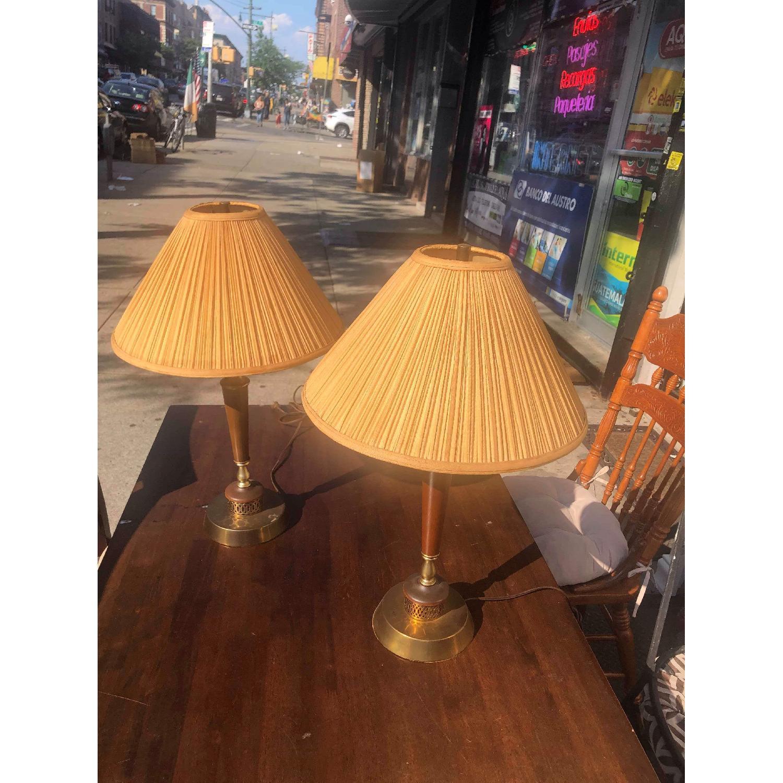 Vintage Mid Century Wood & Brass Lamps - image-2