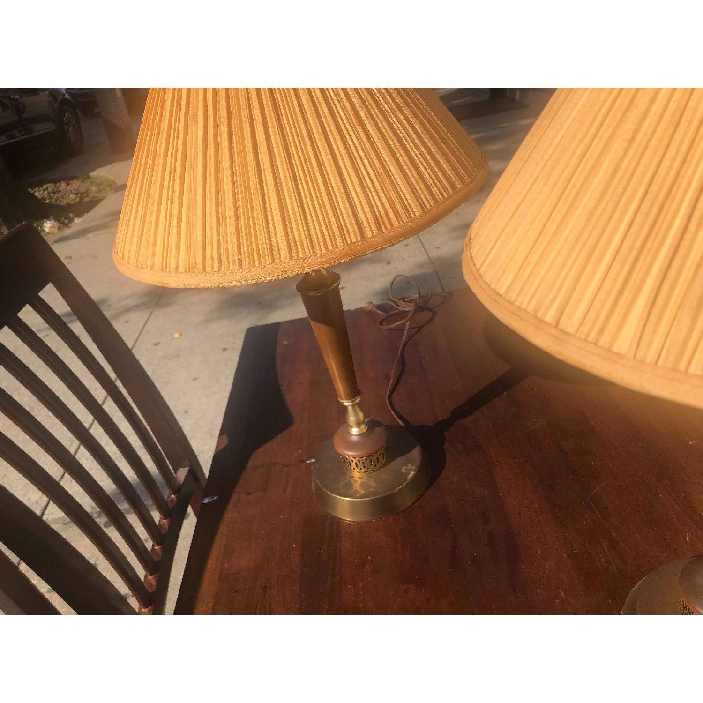 Vintage Mid Century Wood & Brass Lamps - image-4