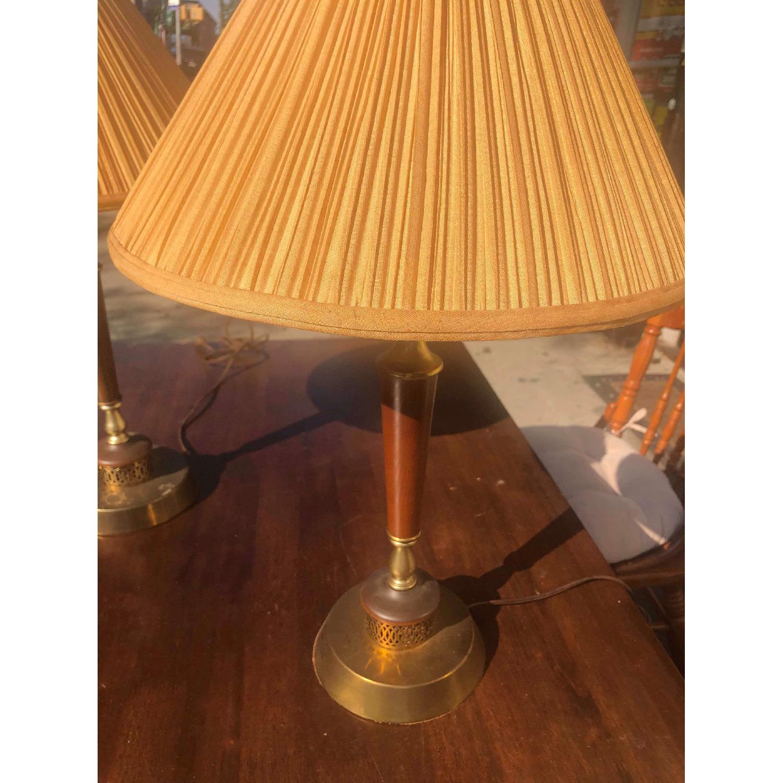 Vintage Mid Century Wood & Brass Lamps - image-5