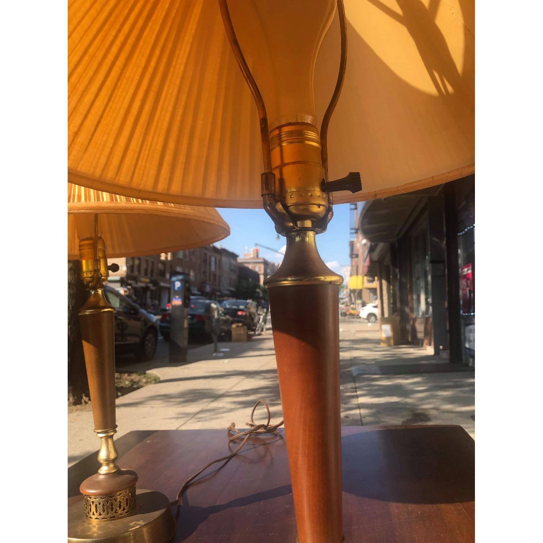 Vintage Mid Century Wood & Brass Lamps - image-8