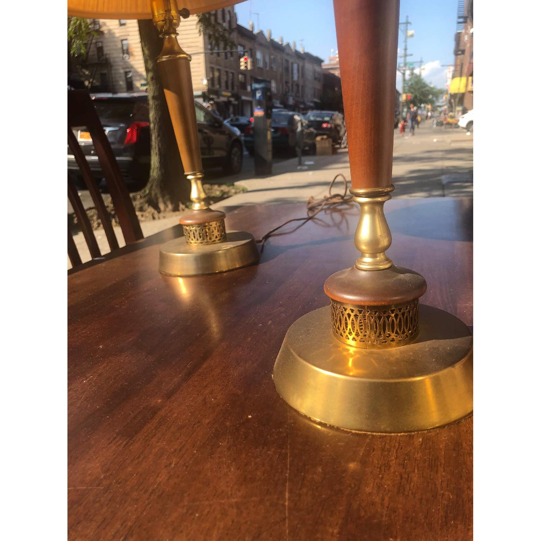 Vintage Mid Century Wood & Brass Lamps - image-9