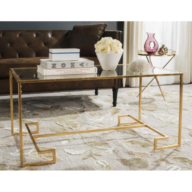 Safavieh Burton Antique Gold Leaf Coffee Table - image-1