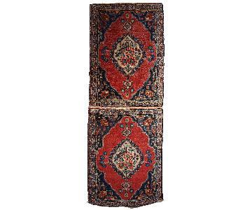 Vintage Handmade Persian Tabriz Double Mat Rug