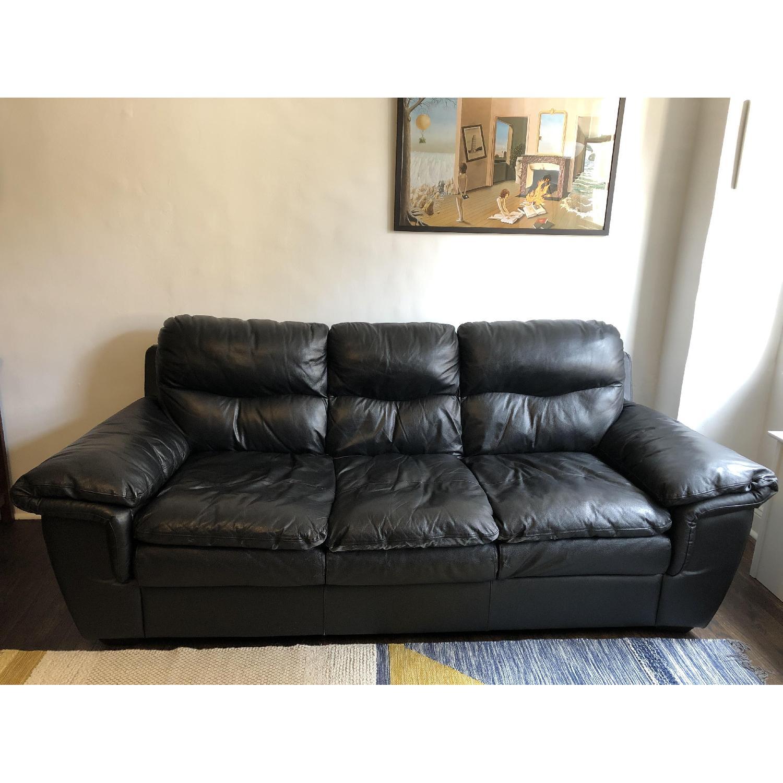 Bob's Black Leather 3-Seater Sofa - image-1