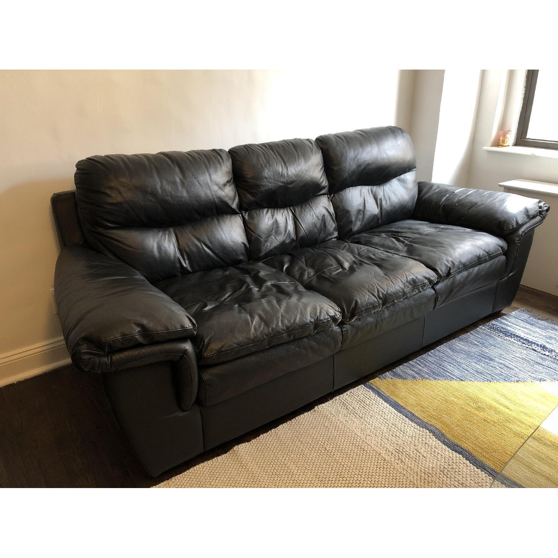 Bob's Black Leather 3-Seater Sofa - image-2