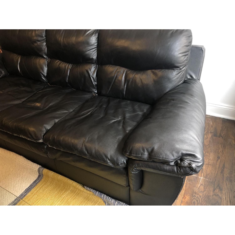 Bob's Black Leather 3-Seater Sofa - image-3