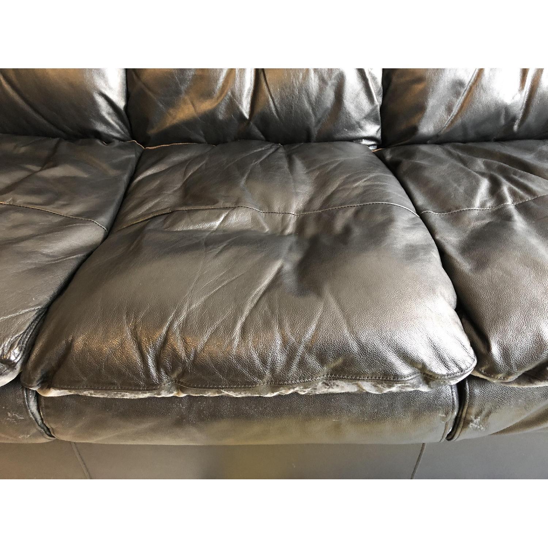 Bob's Black Leather 3-Seater Sofa - image-5