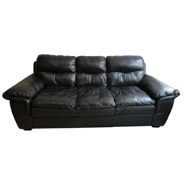 Bob's Black Leather 3-Seater Sofa - image-0