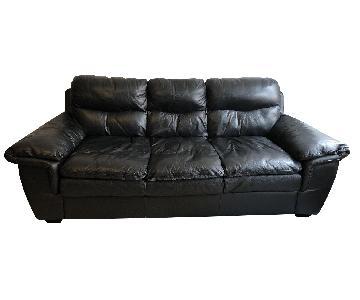 Bob's Black Leather 3-Seater Sofa