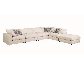 Modern Style Modular Sectional in Beige Fabric