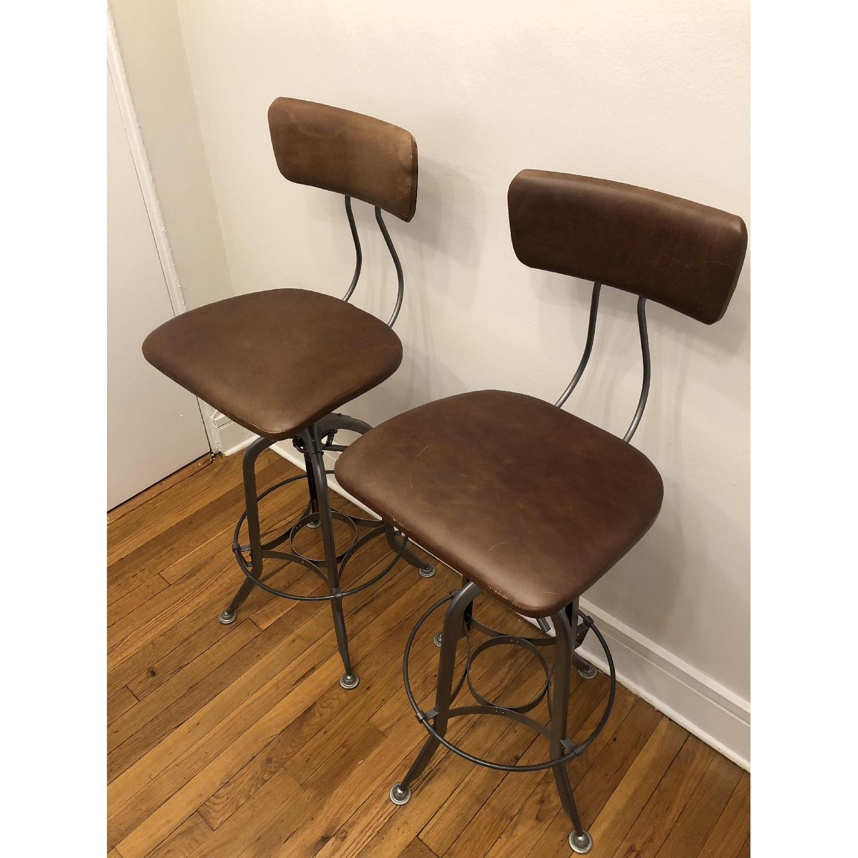 Restoration Hardware 1940s Vintage Toledo Leather Bar Chairs - image-1