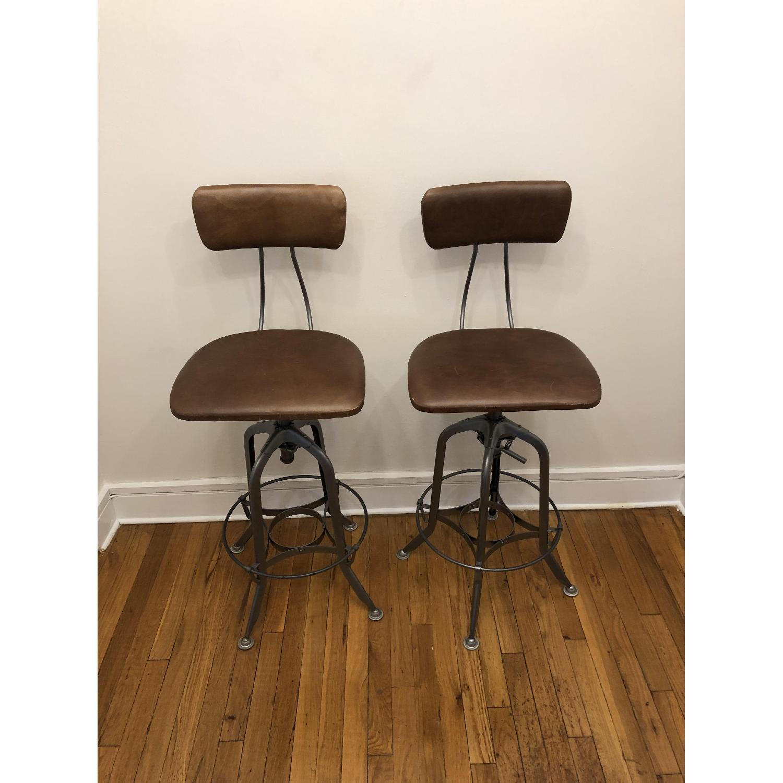 Restoration Hardware 1940s Vintage Toledo Leather Bar Chairs - image-3