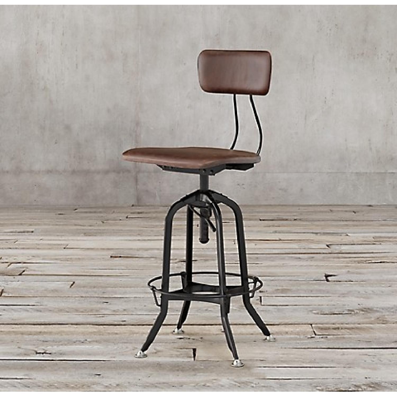 Restoration Hardware 1940s Vintage Toledo Leather Bar Chairs - image-5