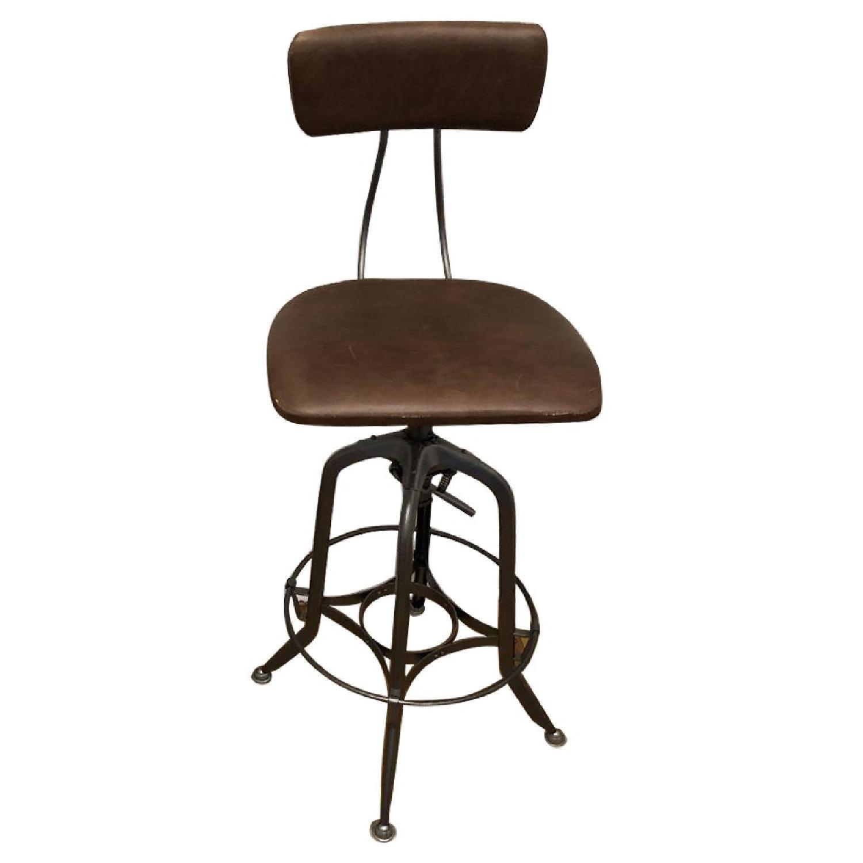 Restoration Hardware 1940s Vintage Toledo Leather Bar Chairs - image-0