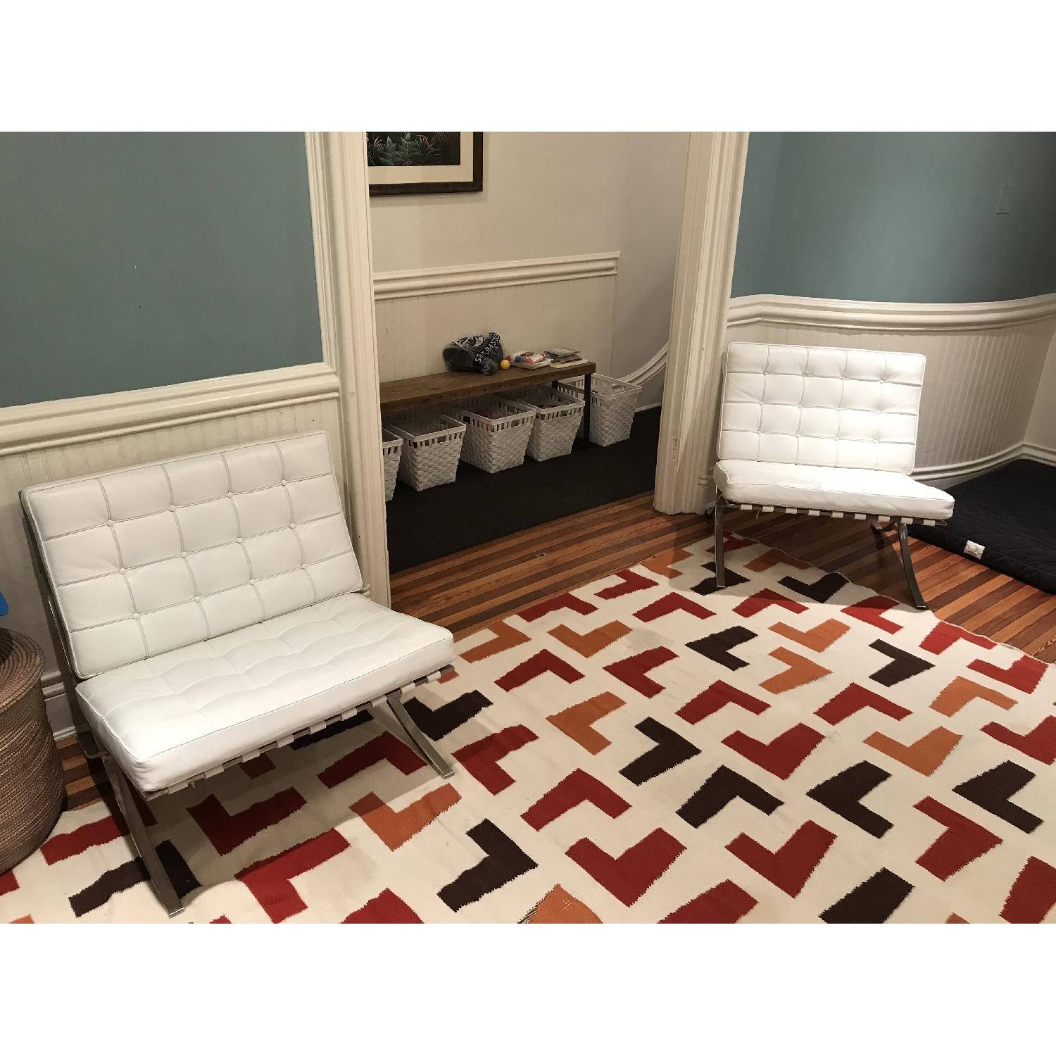 White Leather Barcelona Replica Chairs - image-2