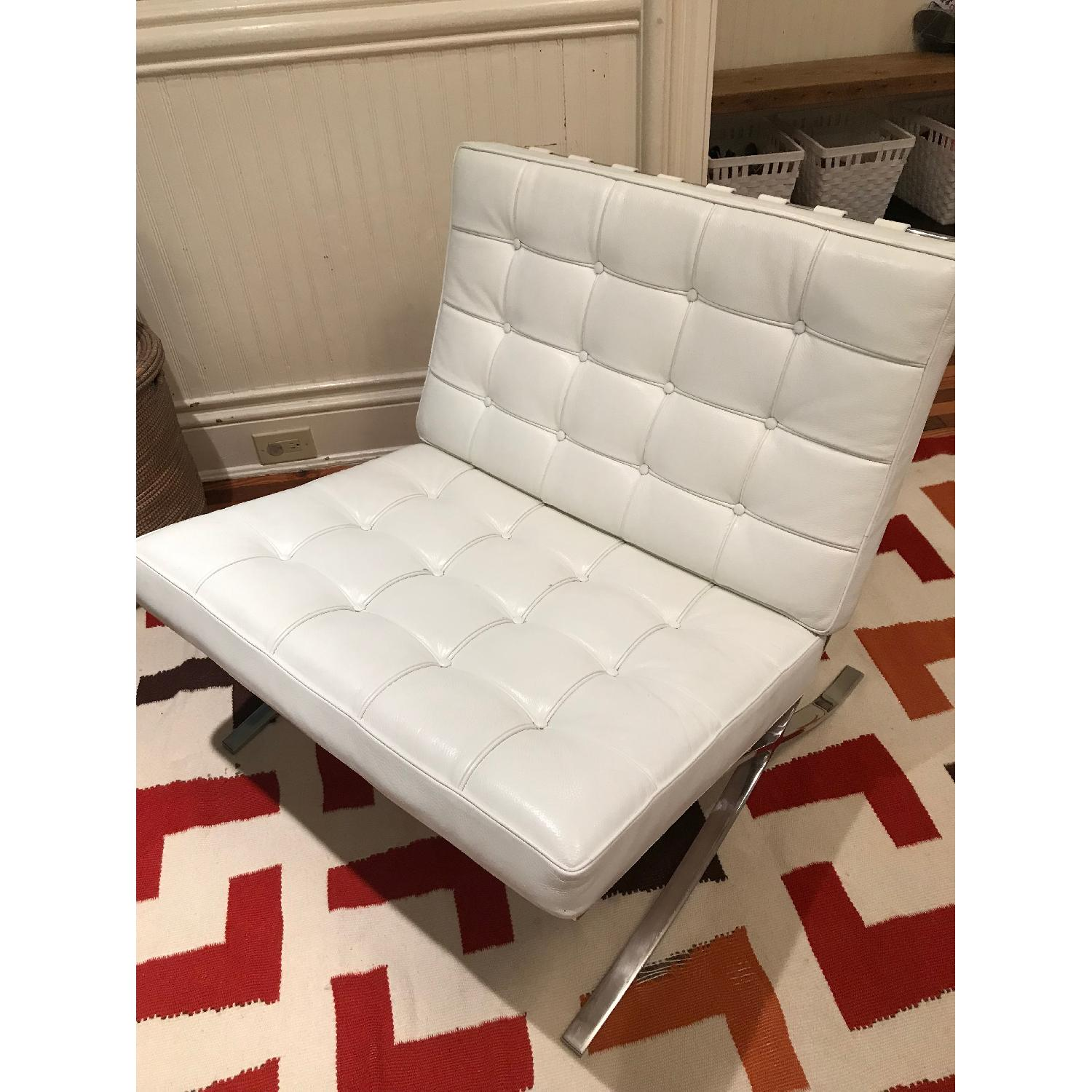 White Leather Barcelona Replica Chairs - image-5