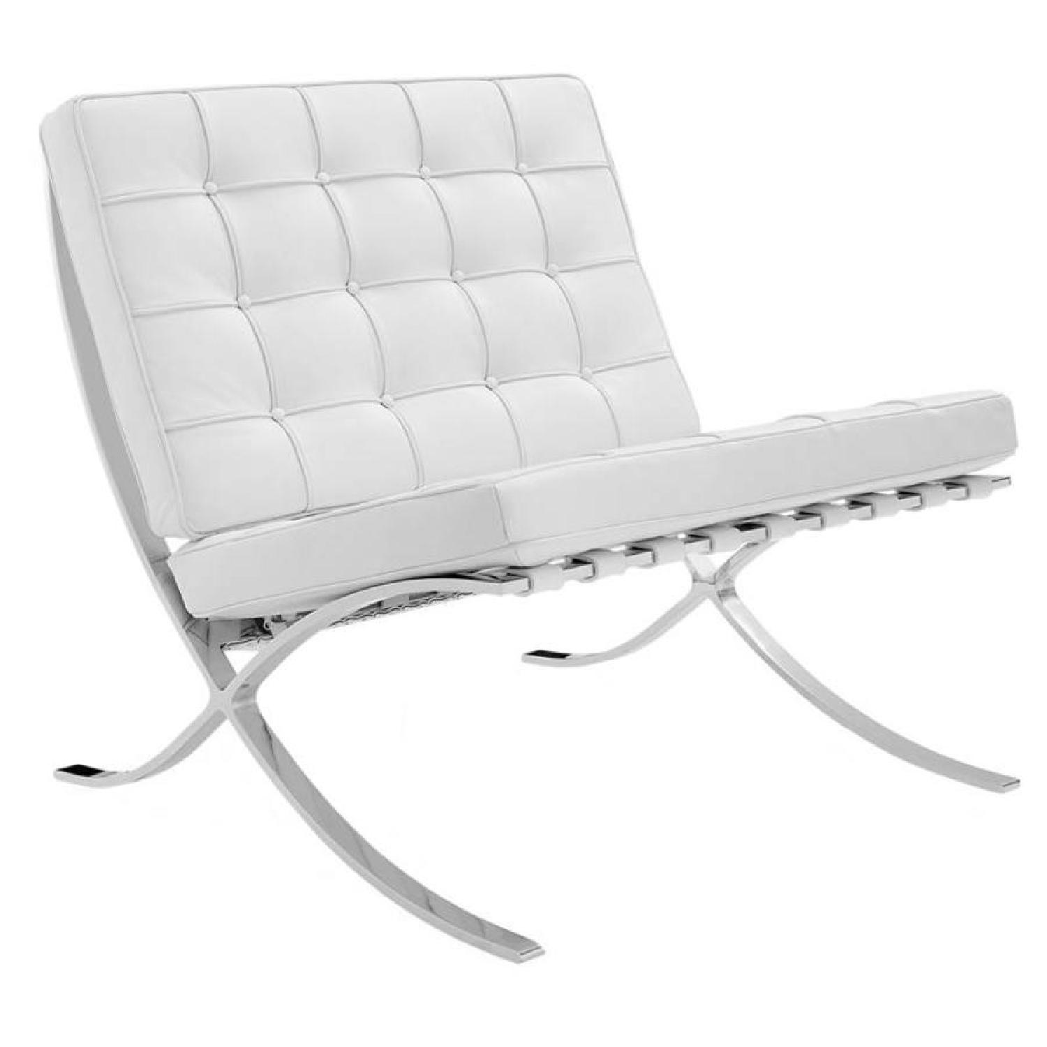 White Leather Barcelona Replica Chairs - image-0